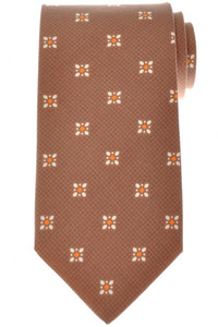 Luigi Borrelli Napoli Tie Silk 57 1/2 x 3 1/4 Brown Geometric 05TI0385