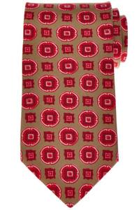 Luigi Borrelli Napoli Tie Silk 58 3/4 x 3 3/8 Brown Red Geometric 05TI0384
