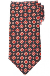 Luigi Borrelli Napoli Tie Silk 56 x 3 3/8 Gray Red Geometric 05TI0378