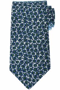 Luigi Borrelli Napoli Tie Silk 59 1/4 x 3 3/8 Blue Green Floral 05TI0377