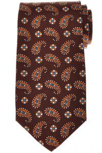 Luigi Borrelli Napoli Tie Silk 59 x 3 3/8 Brown Orange Paisley 05TI0396