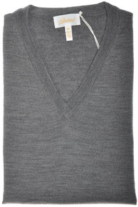 Brioni Sweater V-Neck Extrafine Wool 58 XXXLarge Gray 03SW0154