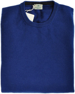Luigi Borrelli Sweater Crewneck Wool Cashmere 56 XXLarge Blue 05SW0109