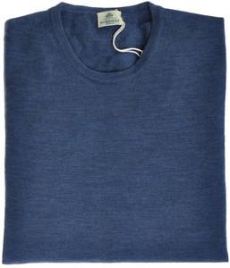 Luigi Borrelli Napoli Sweater Crewneck Wool 56 XXLarge Blue 05SW0107