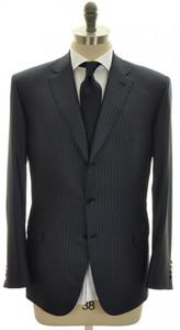 Brioni Suit 'Brunico' Luxury Fine Wool Silk 44 54 Blue Stripe 03SU0177