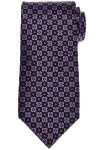 Stefano Ricci Tie Silk 59 1/4 x 3 1/2 Black Purple Geometric 13TI0591