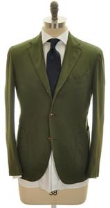 Boglioli 'Coat' Suit 3B Cotton Stretch 38 48 Green Solid 24SU0106