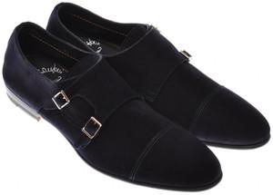 Santoni Shoes Fatte A Mano Monk Strap Suede 8.5 UK 9.5 US Blue 40SO0105