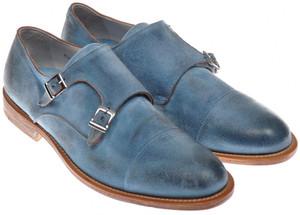 Di Mella Monk Strap Shoes Fatte A Mano Suede 10 UK 11 US Blue 52SO0102