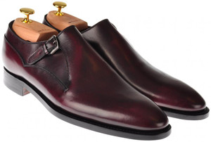 Kiton Shoes Monk Strap Leather 8 UK 9 US Burgundy Red 01SO0106