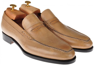Kiton Shoes Loafers Leather 10 UK 11 US Brown Patina 01SO0108