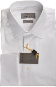 Canali Dress Shirt French Cuff Cotton Stretch 15 38 White 25SH0145