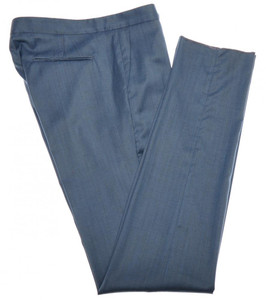 Boglioli Pants Wool Silk 32 48 Blue Herringbone 24PT0114