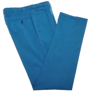 Boglioli Pants Pleats Cotton Stretch Twill 32 48 Washed Blue 24PT0126