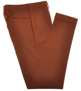Boglioli Pants Wool Blend Stretch Textured Twill 32 48 Brown 24PT0122
