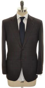 Kiton Suit 'Lasa' 2B 14 Micron 180s Wool 40 50 Gray Red Plaid 01SU0142