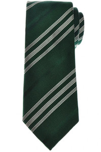Cesare Attolini Silk Cotton Tie 58 x 3 3/8 Green White Stripe 09TI0189