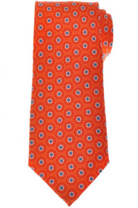 Cesare Attolini Napoli Silk Tie 59 x 3 1/4 Orange Blue Geometric 09TI0184