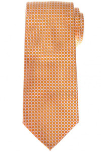 Cesare Attolini Napoli Silk Tie 56 x 3 1/4 Orange White Geometric 09TI0181