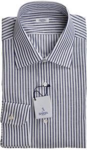 Barba Napoli Dress Shirt Cotton Linen 16 1/2 42 Blue White Stripe 11SH0158