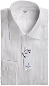 Barba Napoli Dress Shirt Cotton 17 43 White Blue Stripe 11SH0156