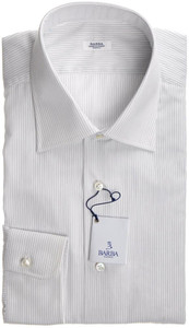 Barba Napoli Dress Shirt Cotton 16 1/2 42 White Blue Stripe 11SH0155