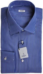 Barba Napoli Dress Shirt Cotton 18 45 Blue White Stripe 11SH0151