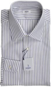 Barba Napoli Dress Shirt Cotton 14 1/2 37 White Blue Stripe 11SH0148