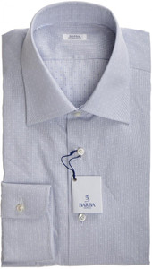 Barba Napoli Dress Shirt Cotton 16 1/2 42 Blue White Geometric 11SH0166