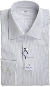 Barba Napoli Dress Shirt Cotton 16 1/2 42 White Blue Stripe 11SH0165