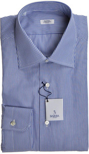 Barba Napoli Dress Shirt Cotton 15 3/4 40 Blue White Stripe 11SH0161