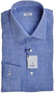 Barba Napoli Dress Shirt Linen 16 41 Blue Solid 11SH0173