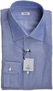 Barba Napoli Dress Shirt Cotton Linen 16 1/2 42 Blue White Stripe 11SH0172