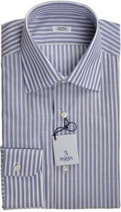 Barba Dress Shirt Superfine Cotton 15 3/4 40 Blue White Stripe 11SH0170