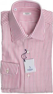 Barba Napoli Dress Shirt Cotton 16 41 Red White Stripe 11SH0168
