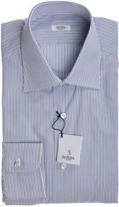Barba Napoli Dress Shirt Cotton 15 1/2 39 Blue Gray Stripe 11SH0167