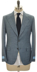 Belvest Suit 3B Peak Lapel 120's Wool 42 52 Blue Micro 50SU0123