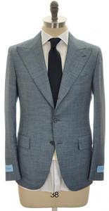 Belvest Suit 3B Peak Lapel 120's Wool 40 50 Blue Micro 50SU0122