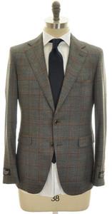 Belvest Suit 2B Wool 40 50 Gray Orange Windowpane 50SU0131