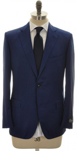 Belvest Suit 2B 130's Wool 40 50 Blue Stripe 50SU0126