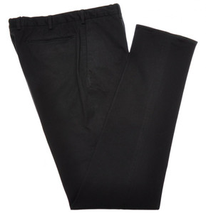 Incotex Casual Dress Pants Washed Cotton Stretch 38 54 Black Solid 28PT0183