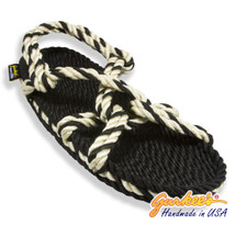 Signature Barbados Black & Natural Rope Sandals