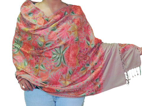 Beautiful Embroidered Stylish Wrap Indian Evening Shawl Wool Floral Stole Scarf