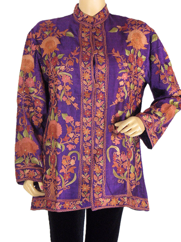 Silk Womens Long Jacket Purple Embroidered Formal Kashmir Fashion Coat L.