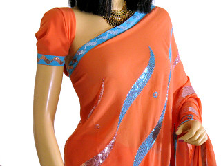 BOLLYWOOD CORAL WEDDING PARTY DESIGNER SARI SAREE