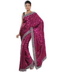 Purple Bollywood Designer Sari Indian Crepe Jacquard Stylish Cocktail Saree
