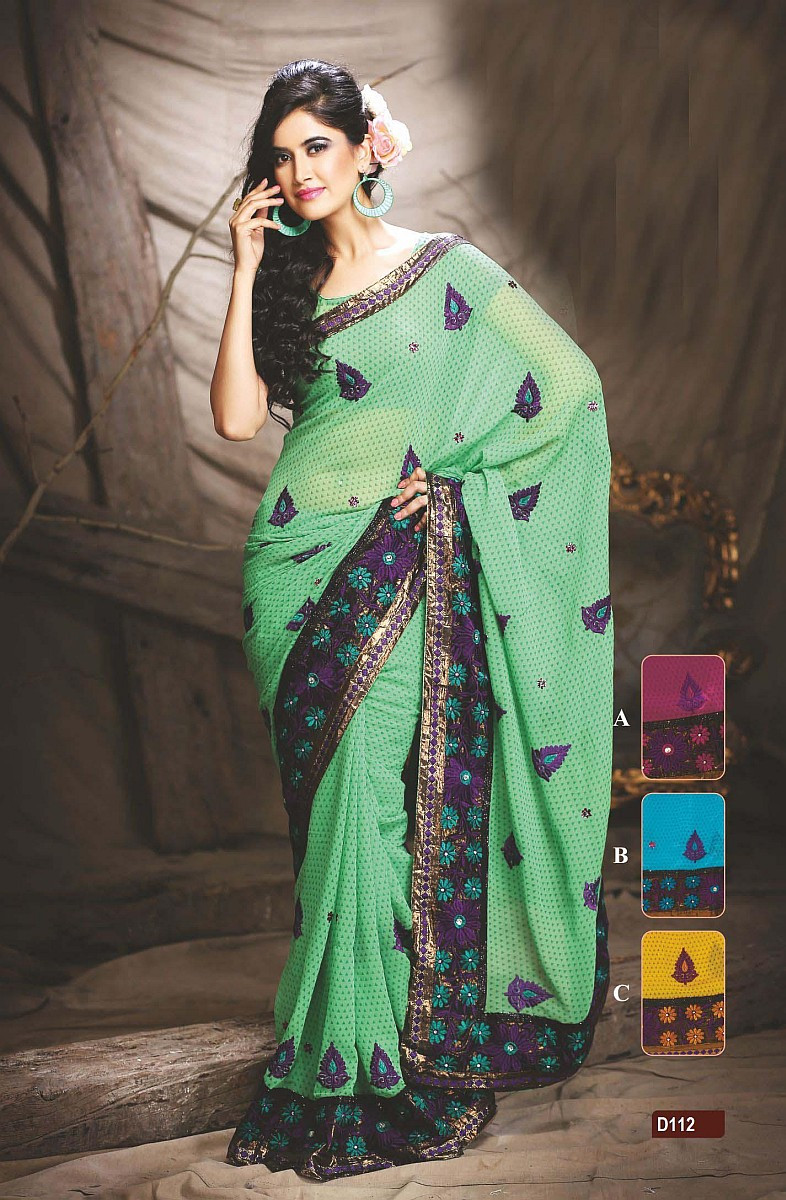 Green Designer Georgette Sari Dot Print Embroidery Party