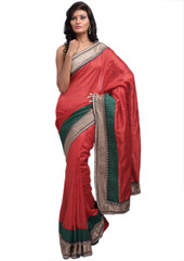 Designer Indian Fashion Saree Bhagalpuri Silk Ethnic Wear Ladies Party Dress Red