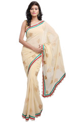 Chiffon Indian Saree Embroidered Jasmine Bollywood Dress Clothing Latest Sari