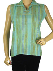Casual Indian Kurti Top Stylish Spring Green Trendy Cotton Tunic M